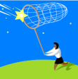 woman catching star