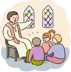 preacher with children