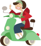 woman wving on motor scooter