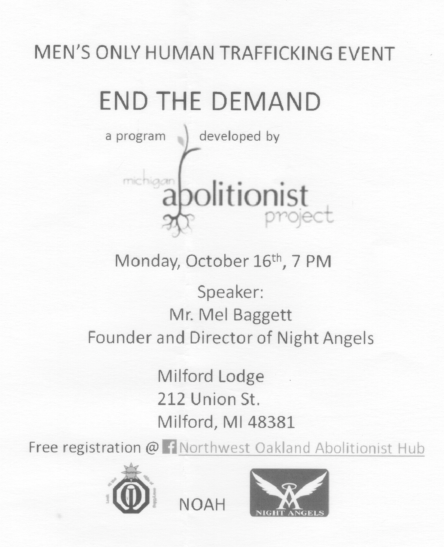 Mens event on human trafficking