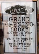 Tenacity Grand Opening Sign